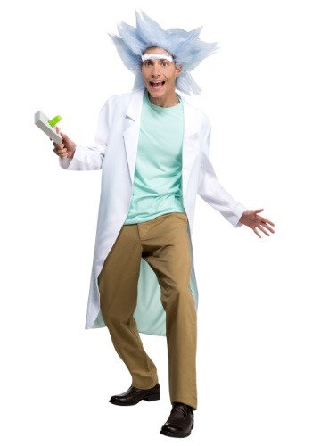Adult Rick and Morty Deluxe Rick Costume with Wig & Unibrow