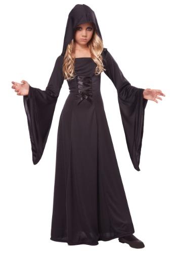 Girl's Deluxe Black Hooded Robe Costume