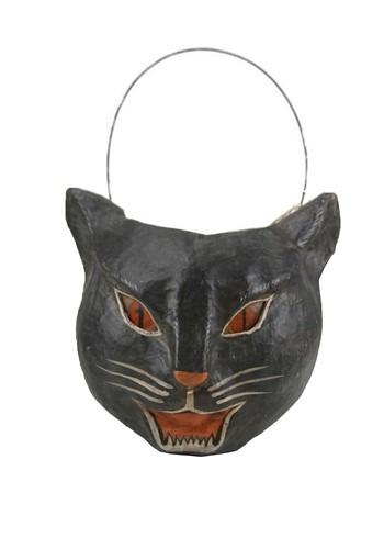 Paper Mache Cat Candy Bucket Halloween Decor