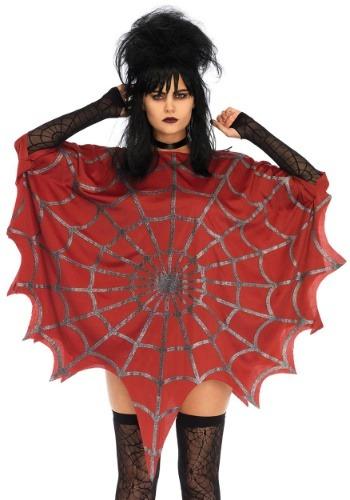 Red Glitter Web Costume Poncho