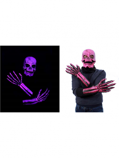 Uv Pink Glow Sock Skull Kit