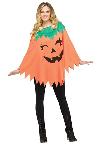 Women's Pumpkin Poncho Costume